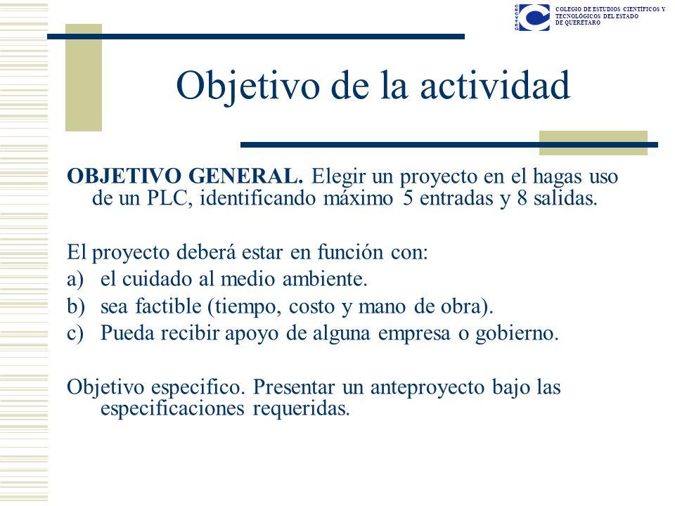 COLEGIO DE ESTUDIOS CIENTÍFICOS Y TECNOLÓGICOS DEL ESTADO DE QUERÉTARO Temario 1.OBJETIVOS DEL PROYECTO 2.DIVISION DEL TRABAJO CLARAMENTE DIVIDIDA.