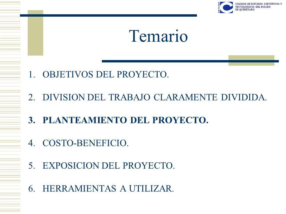 COLEGIO DE ESTUDIOS CIENTÍFICOS Y TECNOLÓGICOS DEL ESTADO DE QUERÉTARO PLANTEAMIENTO DEL PROYECTO Ver Lista de cotejo