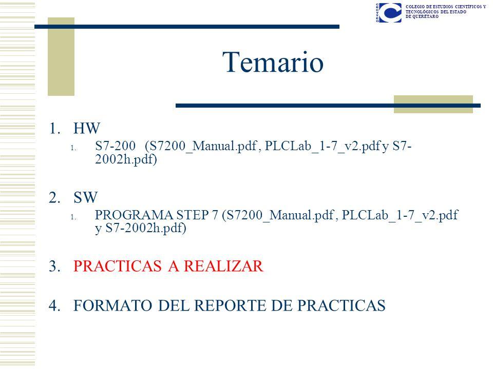 COLEGIO DE ESTUDIOS CIENTÍFICOS Y TECNOLÓGICOS DEL ESTADO DE QUERÉTARO Temario 1.HW 1. S7-200 (S7200_Manual.pdf, PLCLab_1-7_v2.pdf y S7- 2002h.pdf) 2.