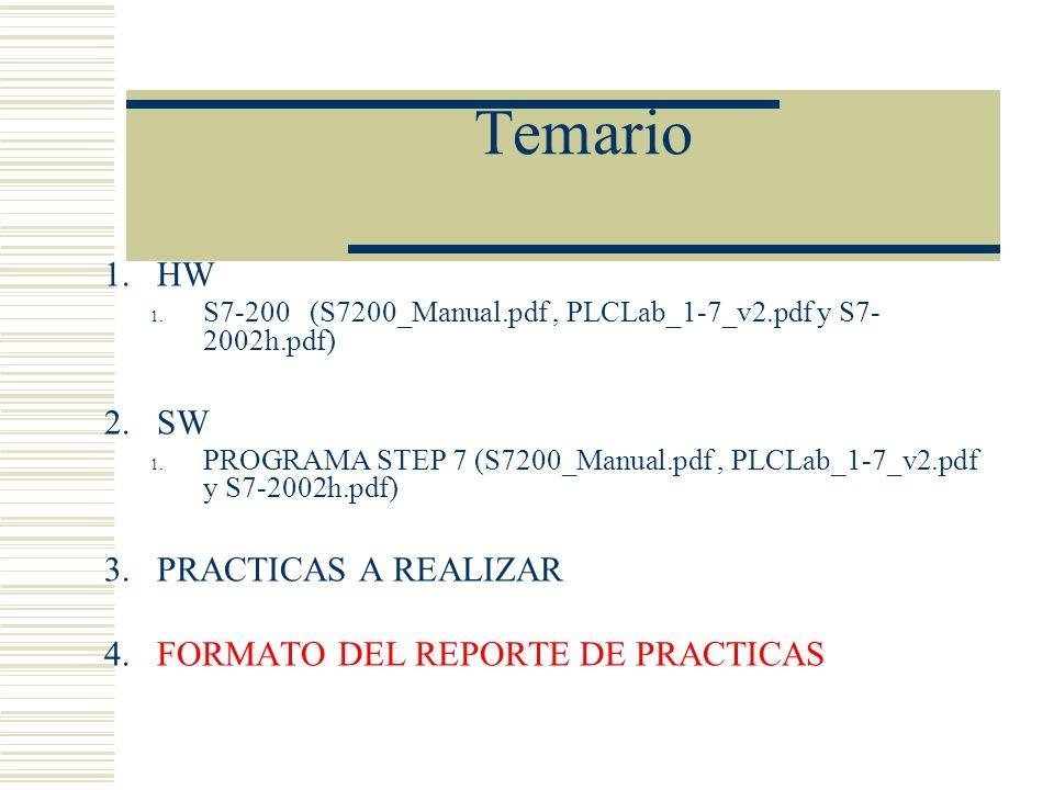 Temario 1.HW 1. S7-200 (S7200_Manual.pdf, PLCLab_1-7_v2.pdf y S7- 2002h.pdf) 2.SW 1. PROGRAMA STEP 7 (S7200_Manual.pdf, PLCLab_1-7_v2.pdf y S7-2002h.p