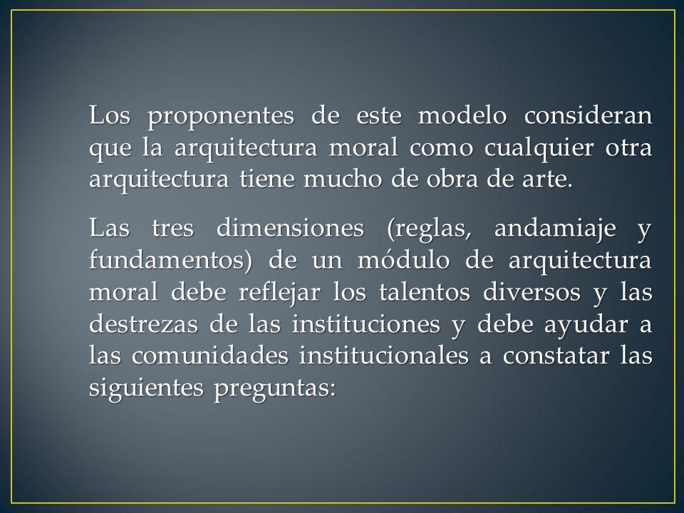Los proponentes de este modelo consideran que la arquitectura moral como cualquier otra arquitectura tiene mucho de obra de arte. Las tres dimensiones