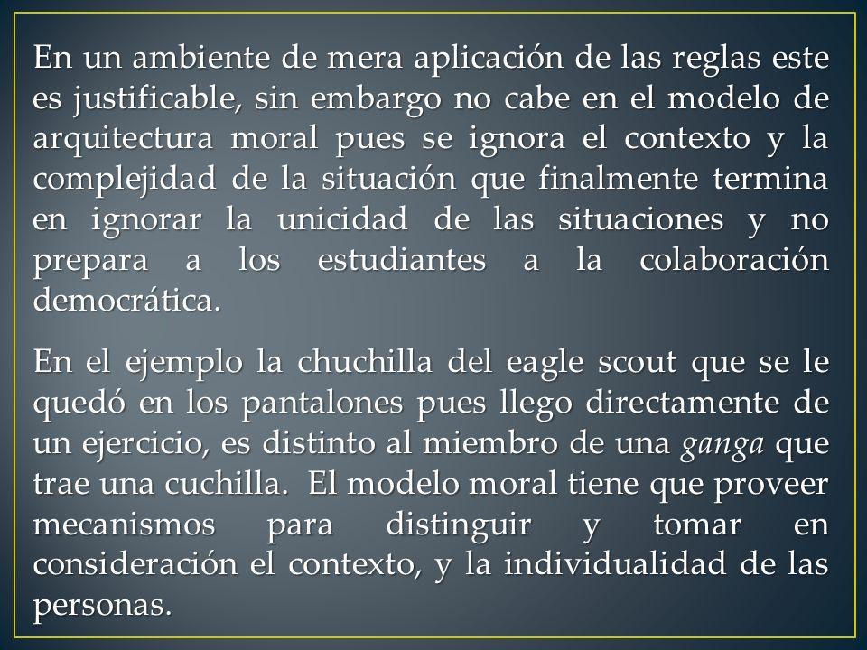 En un ambiente de mera aplicación de las reglas este es justificable, sin embargo no cabe en el modelo de arquitectura moral pues se ignora el context