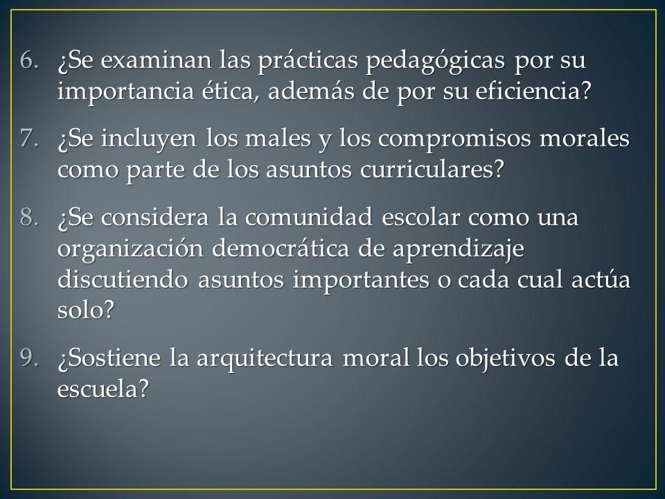 6.¿Se examinan las prácticas pedagógicas por su importancia ética, además de por su eficiencia? 7.¿Se incluyen los males y los compromisos morales com