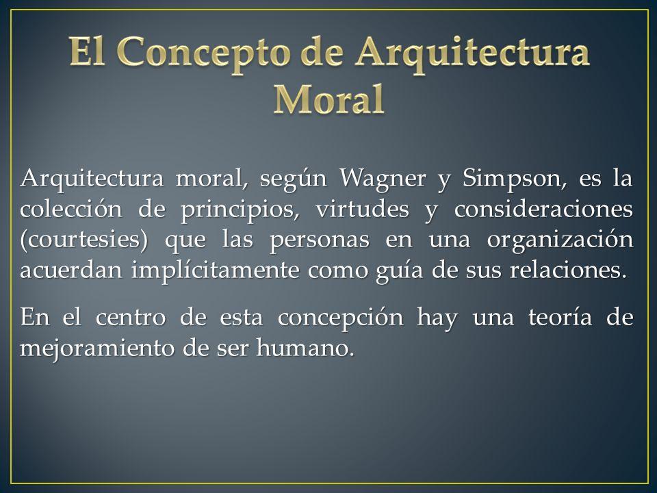 Arquitectura moral, según Wagner y Simpson, es la colección de principios, virtudes y consideraciones (courtesies) que las personas en una organización acuerdan implícitamente como guía de sus relaciones.