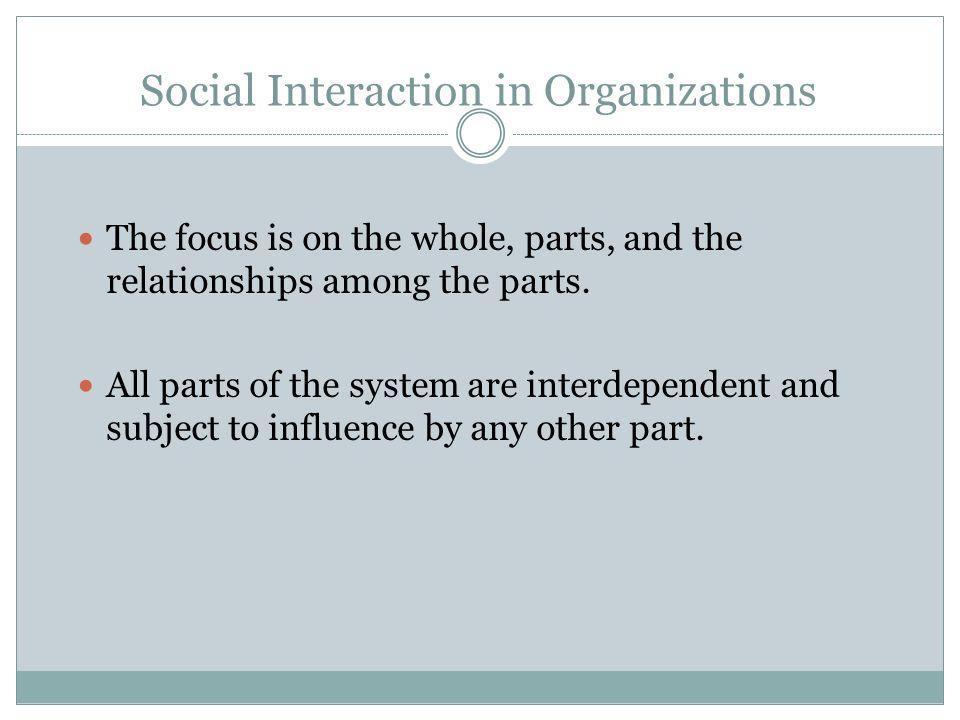 Social Interaction in Organizations Individual Behavior Group Behavior Formal Behavior Informal Behavior