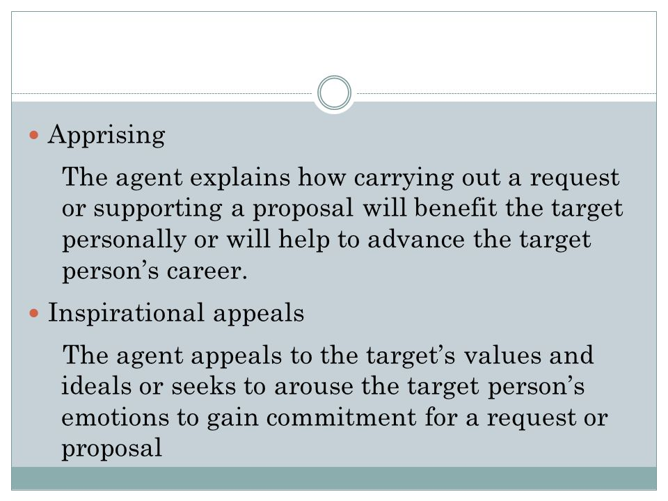 Yukls Classification of Proactive Influence Tactics Rational persuasion The agent uses logical arguments and factual evidence to show that a proposal