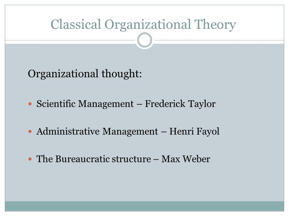 Beliefs of the Classical Theorists Bureaucratic Structure Organizational Control Scientific Management Efficient Behavior Disciplined Behavior