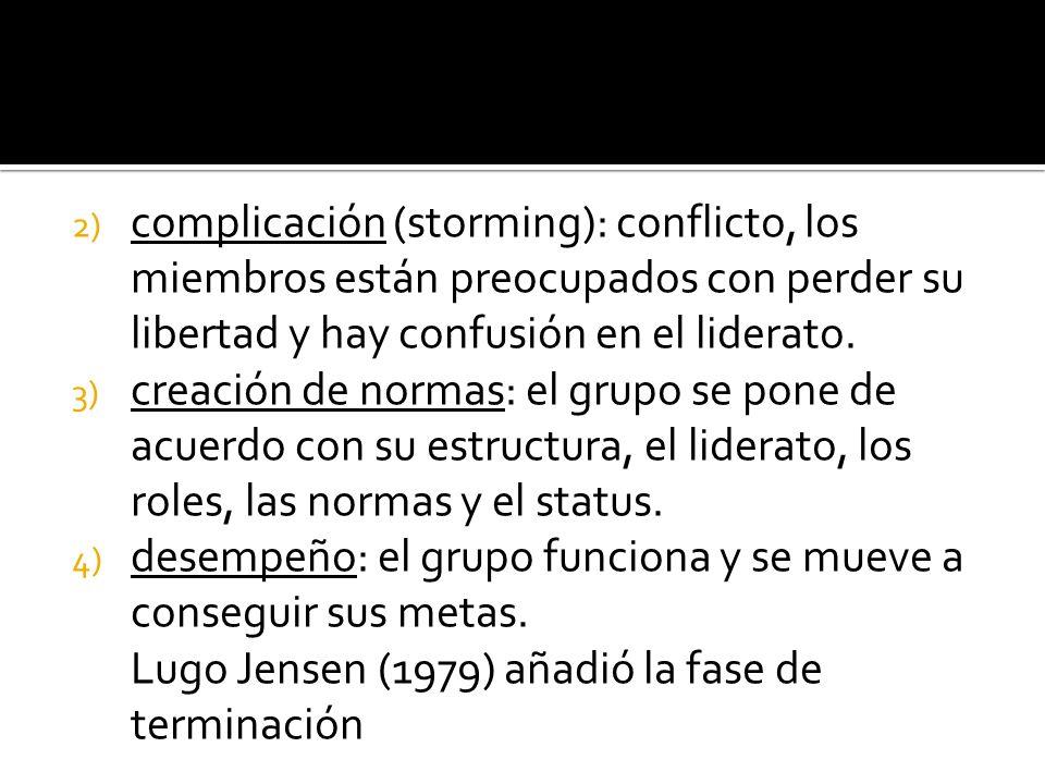 2) complicación (storming): conflicto, los miembros están preocupados con perder su libertad y hay confusión en el liderato. 3) creación de normas: el