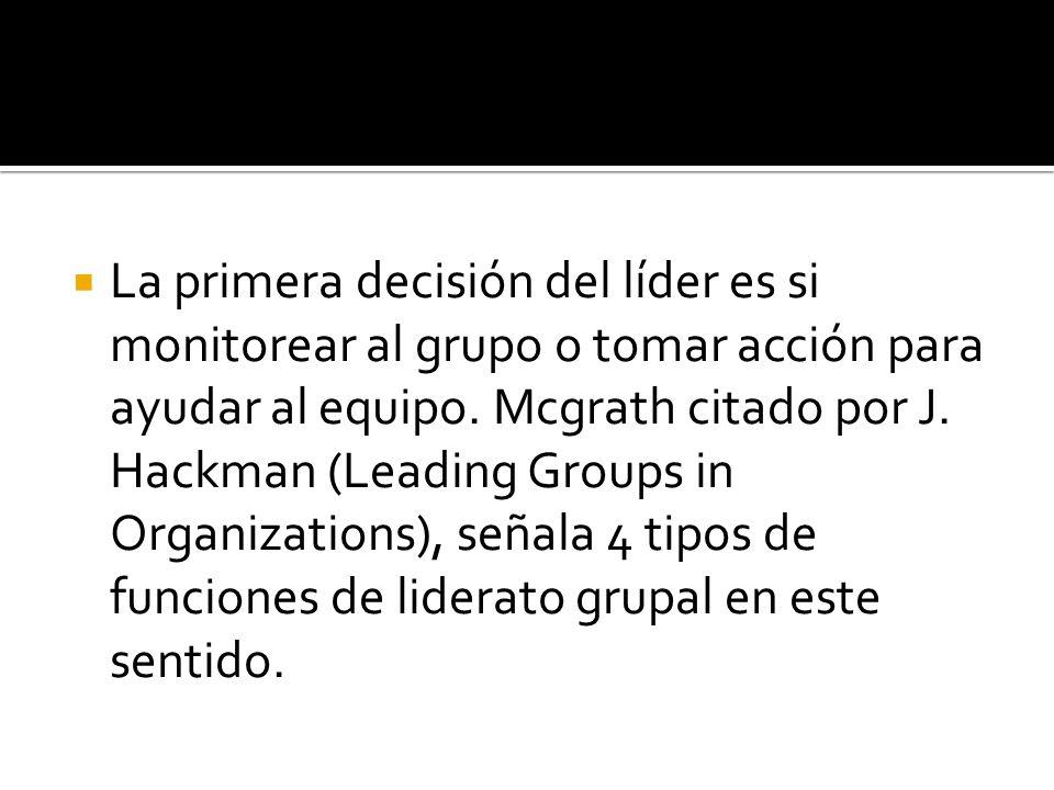 La primera decisión del líder es si monitorear al grupo o tomar acción para ayudar al equipo. Mcgrath citado por J. Hackman (Leading Groups in Organiz