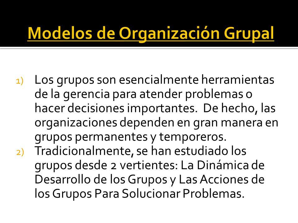 1) Los grupos son esencialmente herramientas de la gerencia para atender problemas o hacer decisiones importantes. De hecho, las organizaciones depend