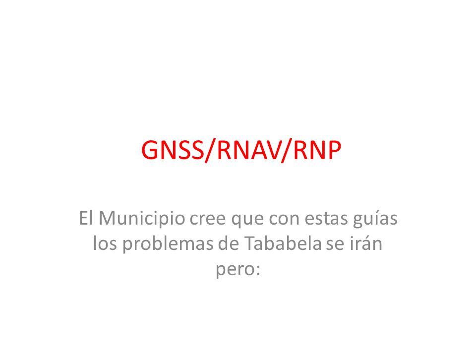 GNSS/RNAV/RNP El Municipio cree que con estas guías los problemas de Tababela se irán pero: