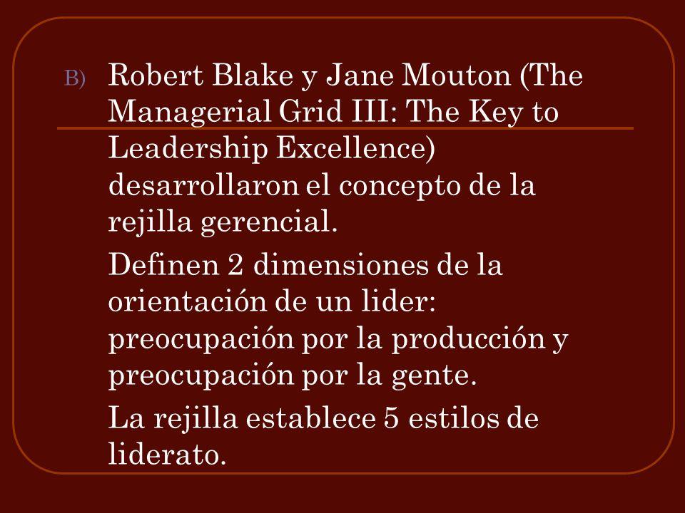 B) Robert Blake y Jane Mouton (The Managerial Grid III: The Key to Leadership Excellence) desarrollaron el concepto de la rejilla gerencial. Definen 2