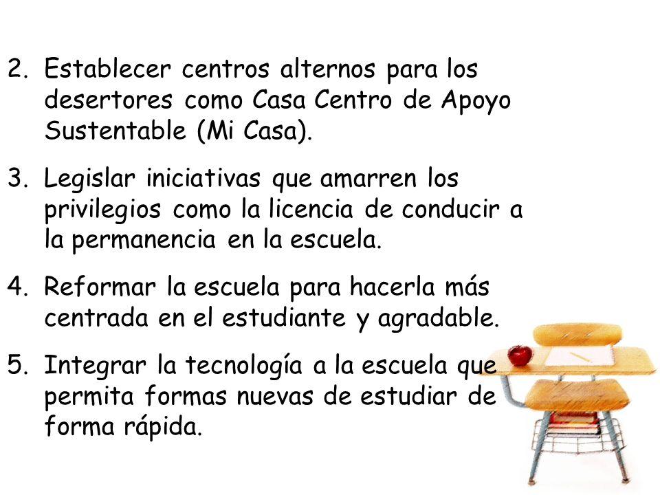 2.Establecer centros alternos para los desertores como Casa Centro de Apoyo Sustentable (Mi Casa).