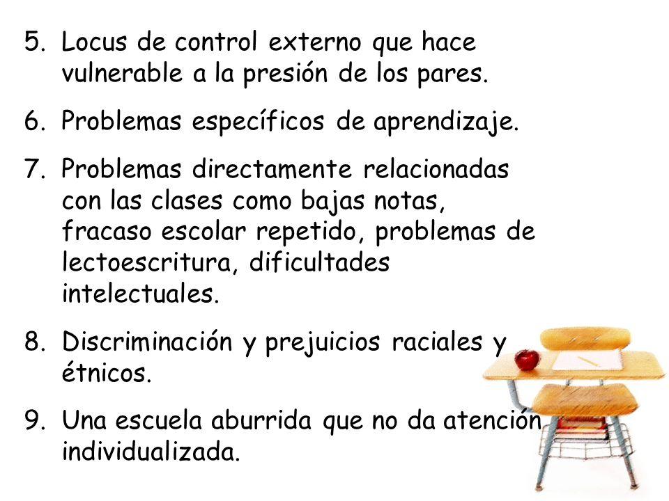 5.Locus de control externo que hace vulnerable a la presión de los pares. 6.Problemas específicos de aprendizaje. 7.Problemas directamente relacionada
