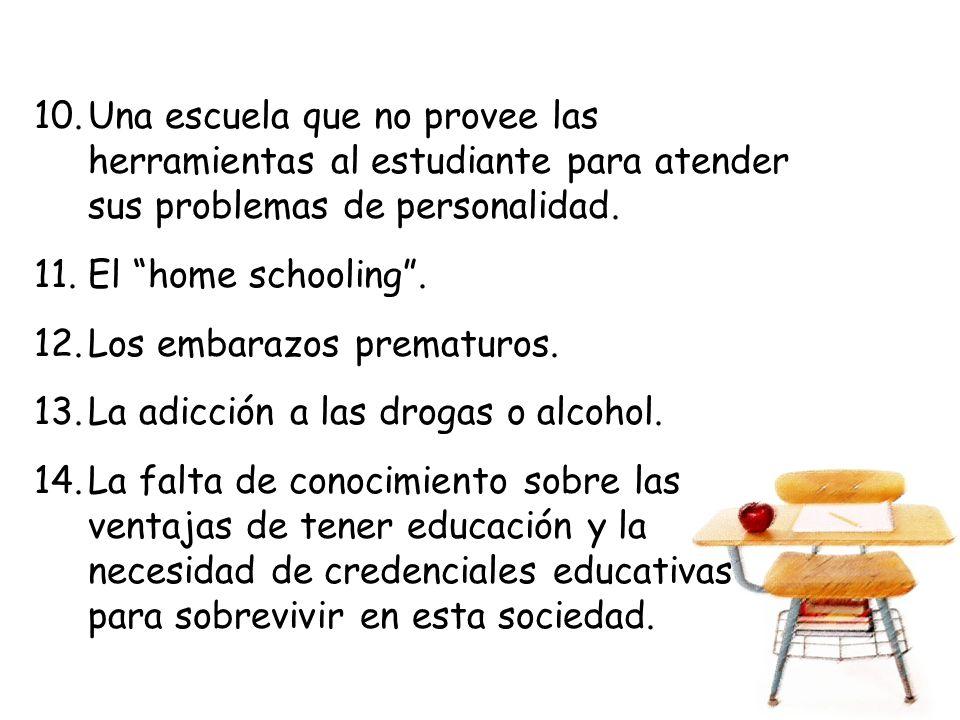 10.Una escuela que no provee las herramientas al estudiante para atender sus problemas de personalidad. 11.El home schooling. 12.Los embarazos prematu
