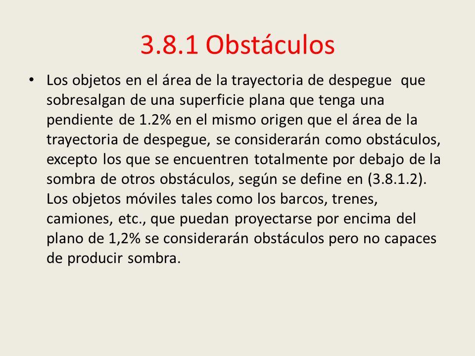 3.8.1 Obstáculos Los objetos en el área de la trayectoria de despegue que sobresalgan de una superficie plana que tenga una pendiente de 1.2% en el mi