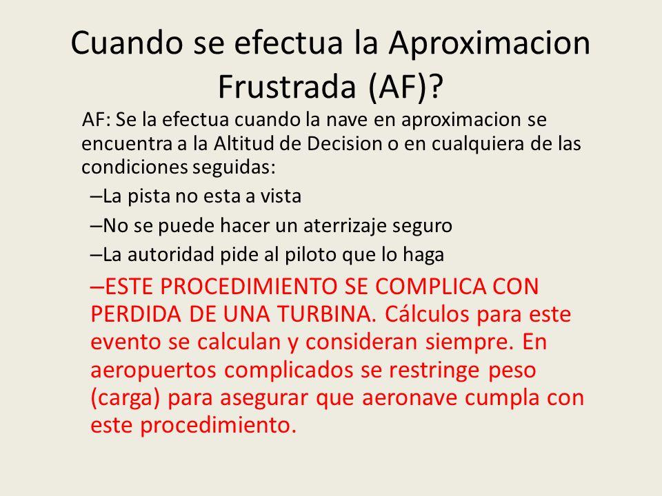 Cuando se efectua la Aproximacion Frustrada (AF)? AF: Se la efectua cuando la nave en aproximacion se encuentra a la Altitud de Decision o en cualquie