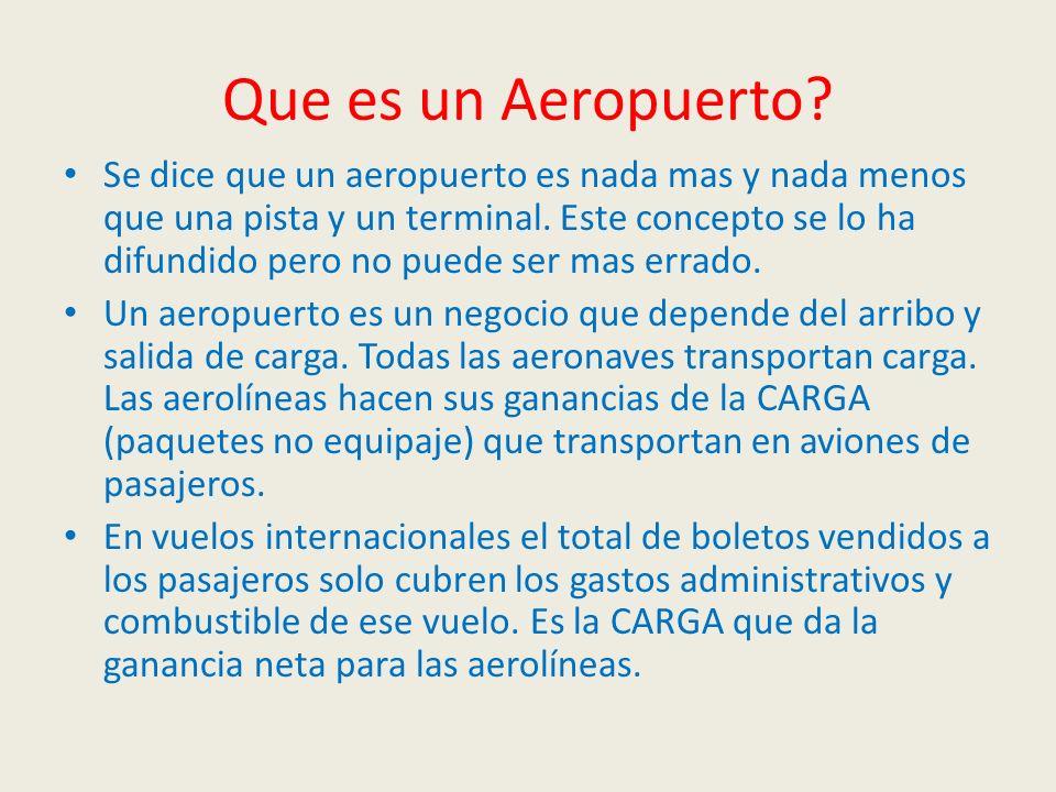 Que es un Aeropuerto? Se dice que un aeropuerto es nada mas y nada menos que una pista y un terminal. Este concepto se lo ha difundido pero no puede s