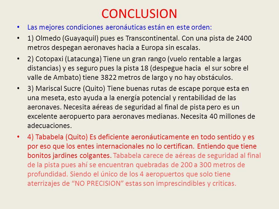 CONCLUSION Las mejores condiciones aeronáuticas están en este orden: 1) Olmedo (Guayaquil) pues es Transcontinental. Con una pista de 2400 metros desp