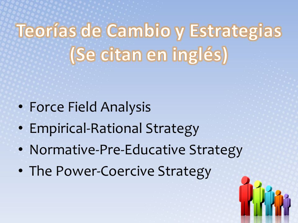 Force Field Analysis Empirical-Rational Strategy Normative-Pre-Educative Strategy The Power-Coercive Strategy