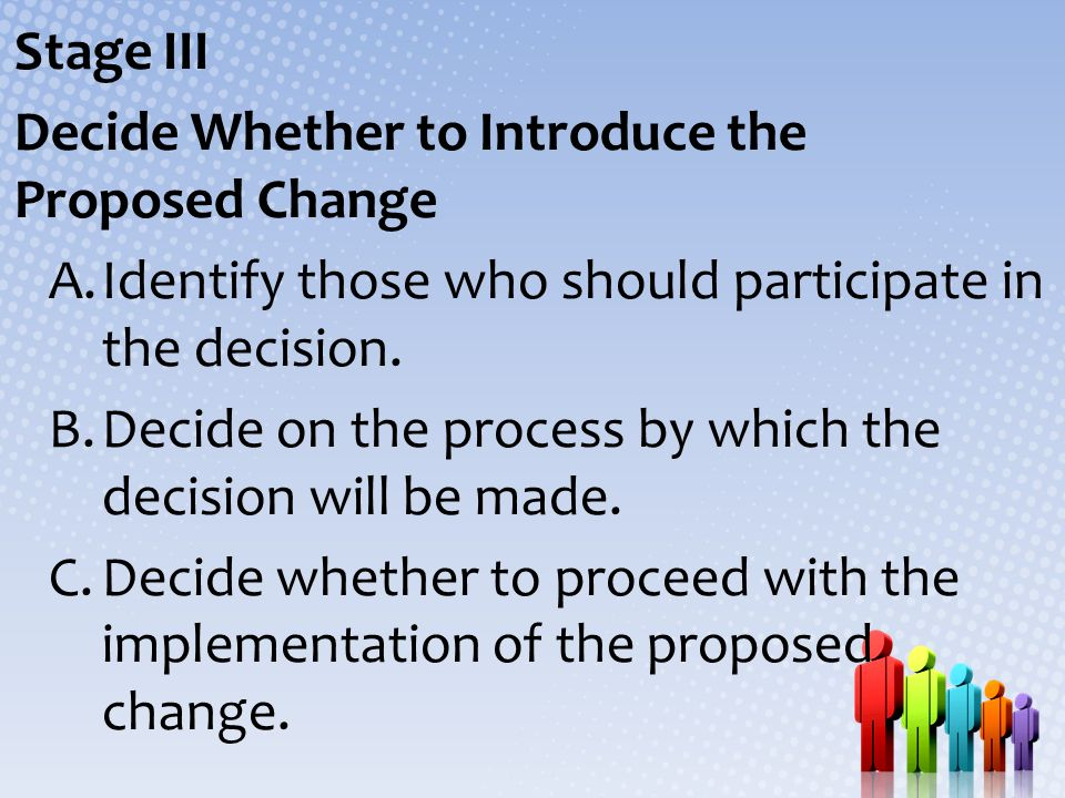 Stage III Decide Whether to Introduce the Proposed Change A.Identify those who should participate in the decision. B.Decide on the process by which th
