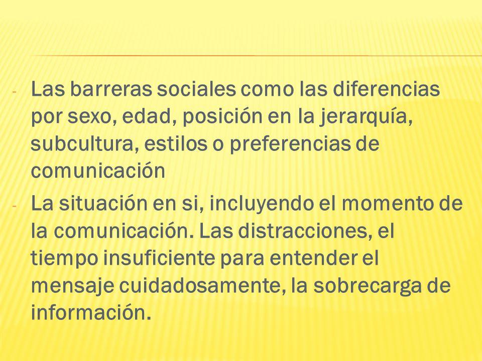 - Las barreras sociales como las diferencias por sexo, edad, posición en la jerarquía, subcultura, estilos o preferencias de comunicación - La situaci
