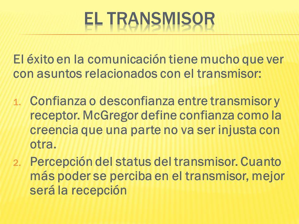 El éxito en la comunicación tiene mucho que ver con asuntos relacionados con el transmisor: 1. Confianza o desconfianza entre transmisor y receptor. M