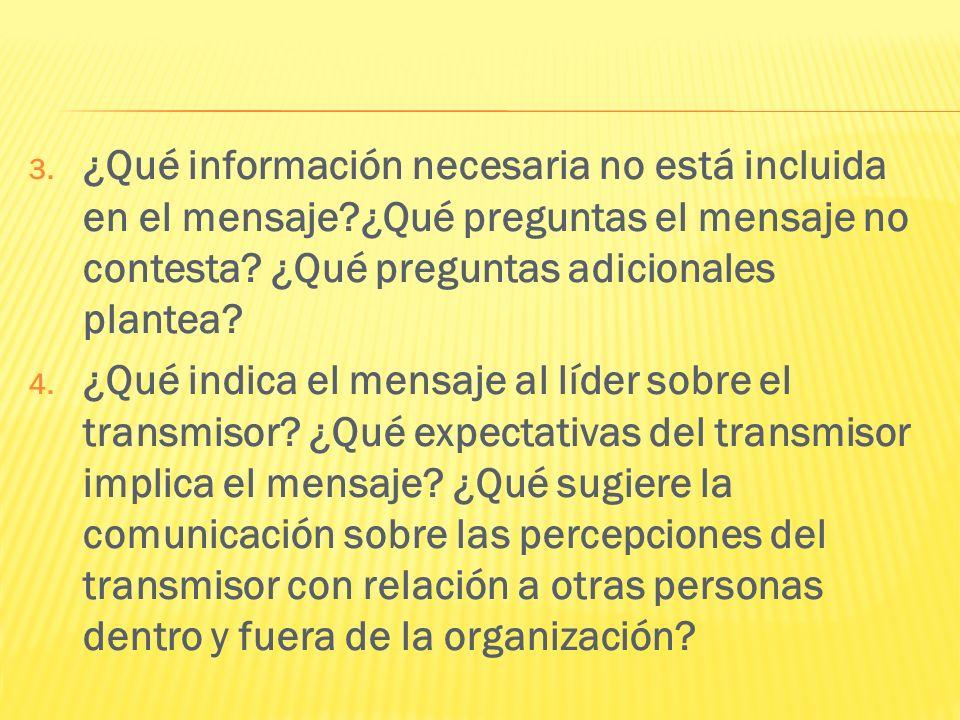 3. ¿Qué información necesaria no está incluida en el mensaje?¿Qué preguntas el mensaje no contesta? ¿Qué preguntas adicionales plantea? 4. ¿Qué indica