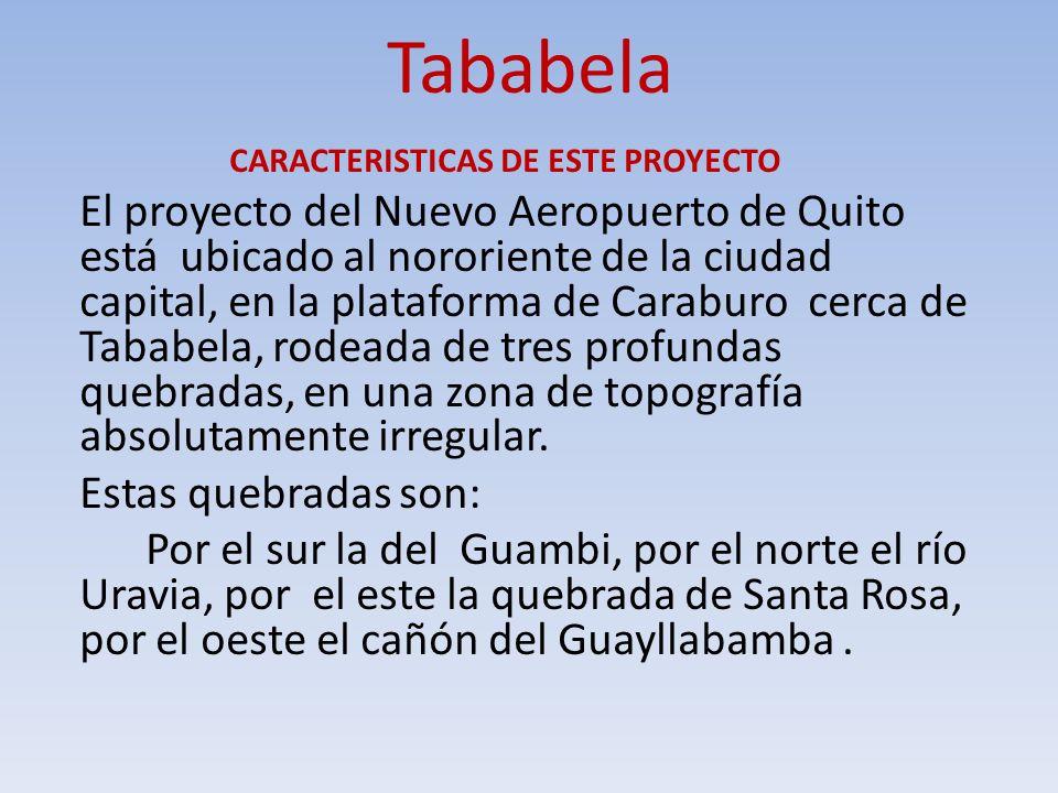 Tababela CARACTERISTICAS DE ESTE PROYECTO El proyecto del Nuevo Aeropuerto de Quito está ubicado al nororiente de la ciudad capital, en la plataforma
