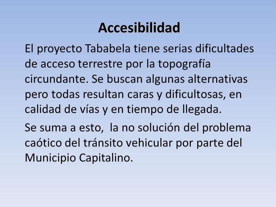 El proyecto Tababela tiene serias dificultades de acceso terrestre por la topografía circundante. Se buscan algunas alternativas pero todas resultan c