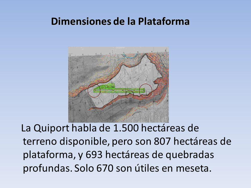 La Quiport habla de 1.500 hectáreas de terreno disponible, pero son 807 hectáreas de plataforma, y 693 hectáreas de quebradas profundas. Solo 670 son