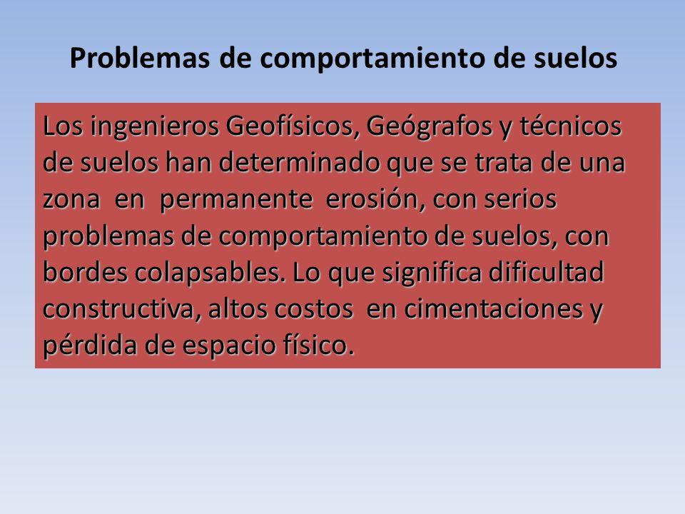 Problemas de comportamiento de suelos Los ingenieros Geofísicos, Geógrafos y técnicos de suelos han determinado que se trata de una zona en permanente