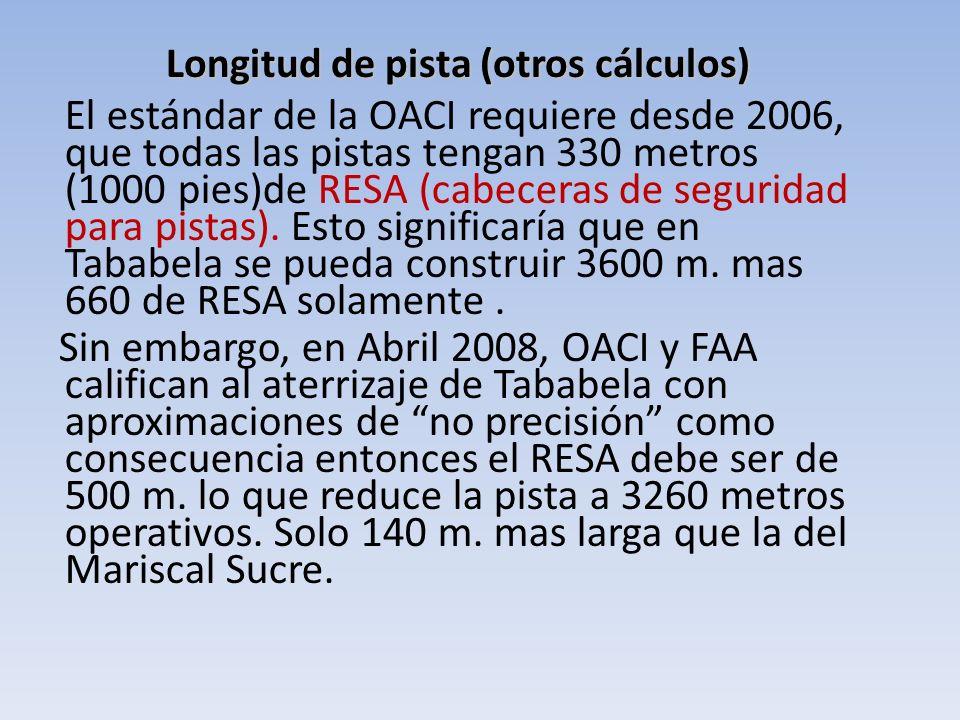 El estándar de la OACI requiere desde 2006, que todas las pistas tengan 330 metros (1000 pies)de RESA (cabeceras de seguridad para pistas). Esto signi