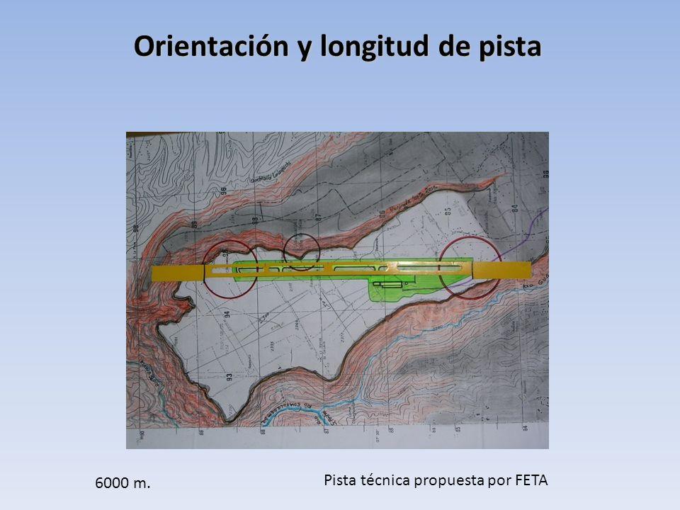 Orientación y longitud de pista Pista técnica propuesta por FETA 6000 m.
