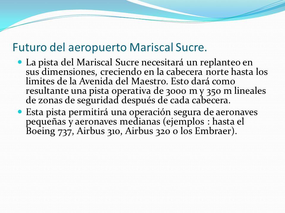 La pista del Mariscal Sucre necesitará un replanteo en sus dimensiones, creciendo en la cabecera norte hasta los limites de la Avenida del Maestro. Es