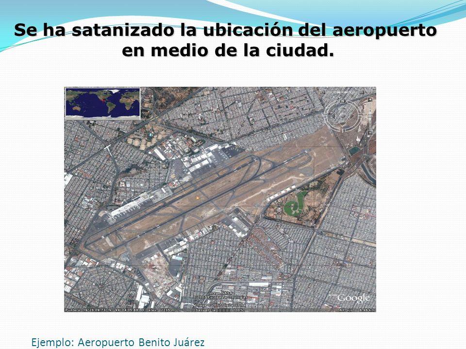 Ejemplo: Aeropuerto Benito Juárez Se ha satanizado la ubicación del aeropuerto en medio de la ciudad.