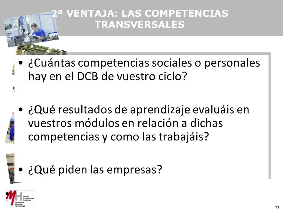 11 2ª VENTAJA: LAS COMPETENCIAS TRANSVERSALES ¿Cuántas competencias sociales o personales hay en el DCB de vuestro ciclo.