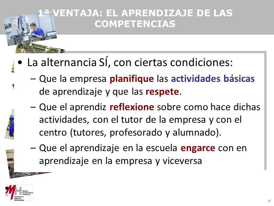 7 1ª VENTAJA: EL APRENDIZAJE DE LAS COMPETENCIAS La alternancia SÍ, con ciertas condiciones: –Que la empresa planifique las actividades básicas de aprendizaje y que las respete.