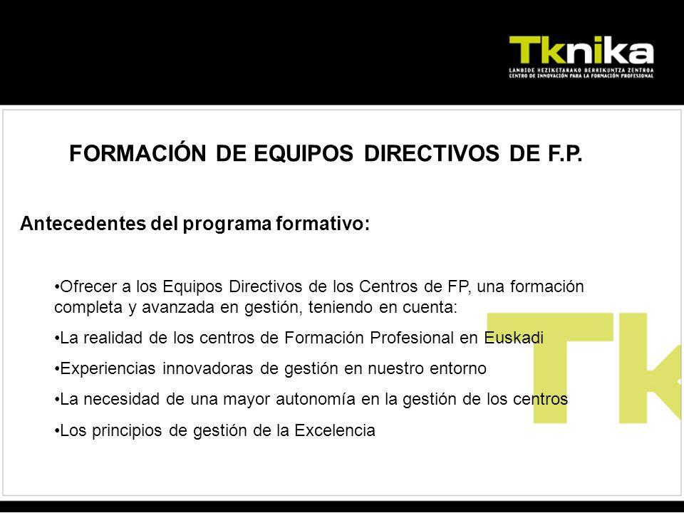 FORMACIÓN DE EQUIPOS DIRECTIVOS DE F.P.