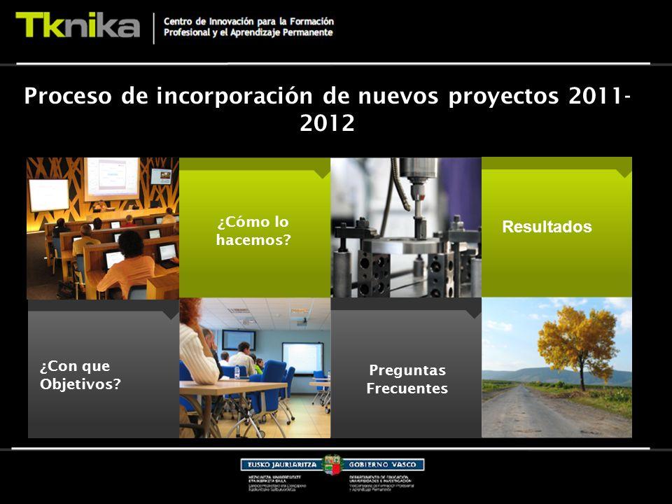 Proceso de incorporación de nuevos proyectos 2011- 2012 ¿Con que Objetivos.