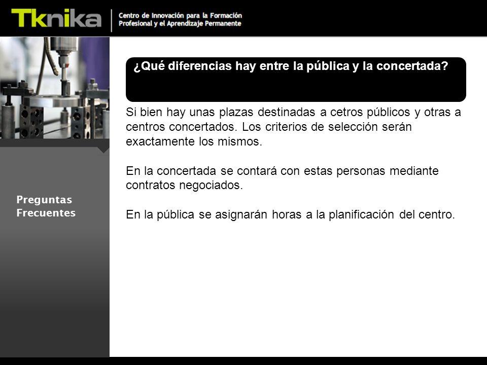 Preguntas Frecuentes ¿Qué diferencias hay entre la pública y la concertada.