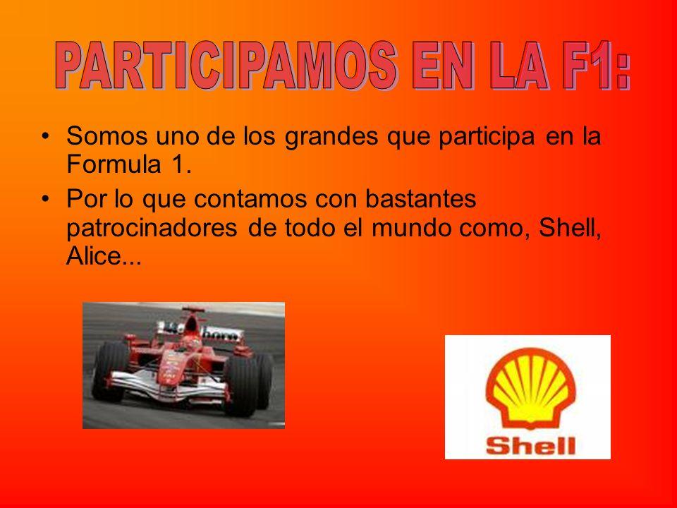 Somos uno de los grandes que participa en la Formula 1. Por lo que contamos con bastantes patrocinadores de todo el mundo como, Shell, Alice...