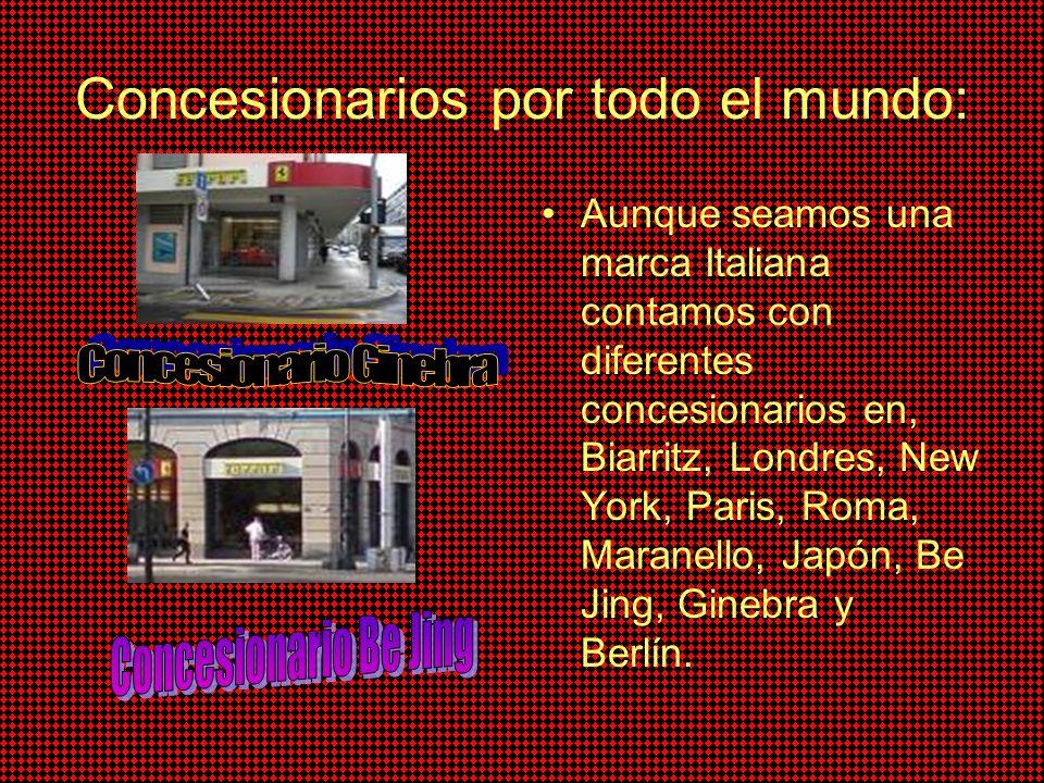 Concesionarios por todo el mundo: Aunque seamos una marca Italiana contamos con diferentes concesionarios en, Biarritz, Londres, New York, Paris, Roma