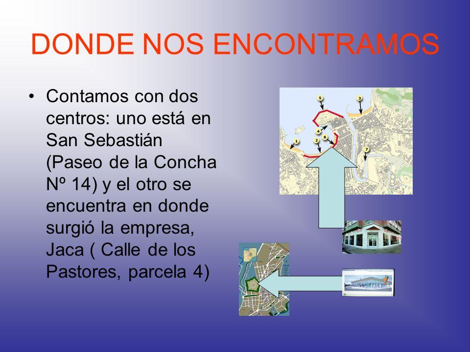 DONDE NOS ENCONTRAMOS Contamos con dos centros: uno está en San Sebastián (Paseo de la Concha Nº 14) y el otro se encuentra en donde surgió la empresa