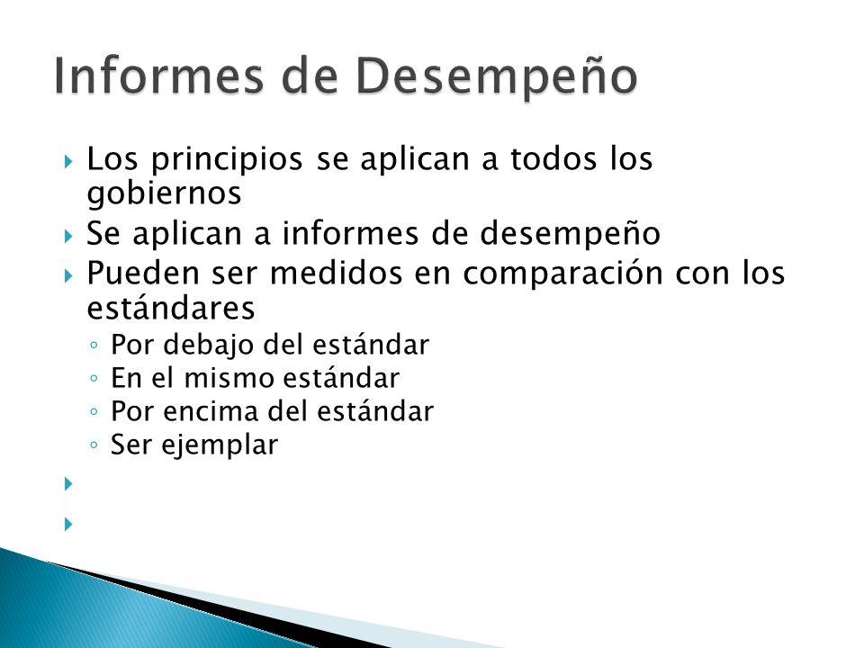 Los principios se aplican a todos los gobiernos Se aplican a informes de desempeño Pueden ser medidos en comparación con los estándares Por debajo del