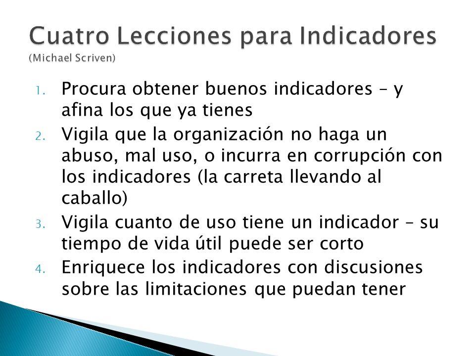 1. Procura obtener buenos indicadores – y afina los que ya tienes 2. Vigila que la organización no haga un abuso, mal uso, o incurra en corrupción con