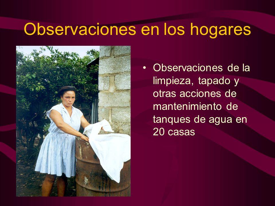 Observaciones en los hogares Observaciones de la limpieza, tapado y otras acciones de mantenimiento de tanques de agua en 20 casas