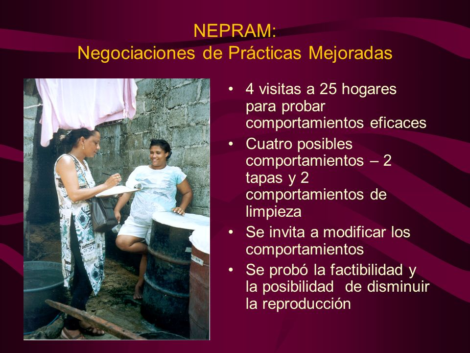 NEPRAM: Negociaciones de Prácticas Mejoradas 4 visitas a 25 hogares para probar comportamientos eficaces Cuatro posibles comportamientos – 2 tapas y 2 comportamientos de limpieza Se invita a modificar los comportamientos Se probó la factibilidad y la posibilidad de disminuir la reproducción