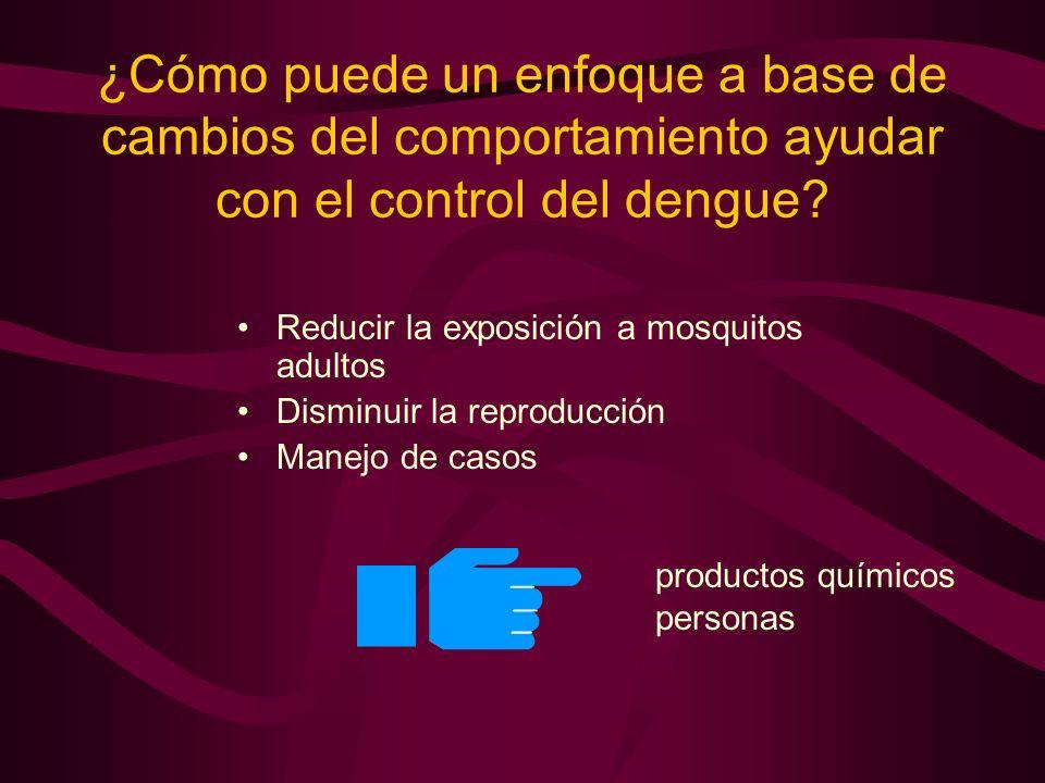 ¿Cómo puede un enfoque a base de cambios del comportamiento ayudar con el control del dengue? Reducir la exposición a mosquitos adultos Disminuir la r