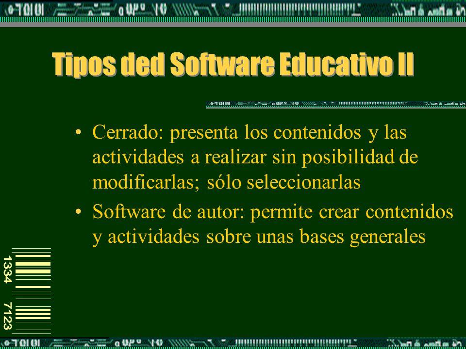 Tipos ded Software Educativo II Cerrado: presenta los contenidos y las actividades a realizar sin posibilidad de modificarlas; sólo seleccionarlas Software de autor: permite crear contenidos y actividades sobre unas bases generales